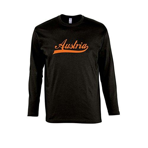 Austria Oldschool Österreich Fussball EM WM FAN - Herren Langarm Longsleeve T-Shirt S-XXL , Deep black - orange , XXL