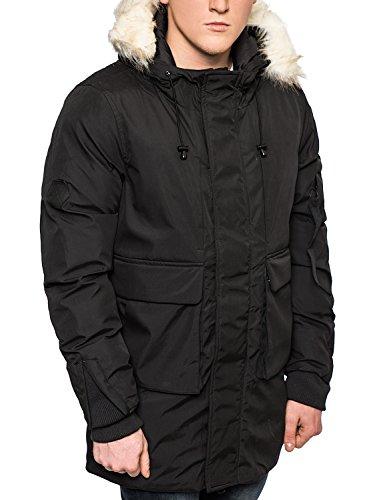 Bellfield Da Uomo Parka pelliccia-invernale imbottito con cappuccio, colore: kaki/nero Black X-Large