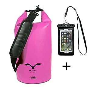HAWK OUTDOORS Dry Bag - wasserdichter Packsack gepolsterte Schulter-Gurte inklusive wasserdichter Handy-Hülle - 30L/20L/10L - Seesack - Rucksack Wasserfest - Kajak, Rafting, Segeln (Rosa, 10L)