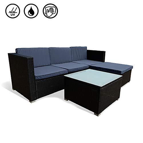 Ouhigher Poly Rattan Sitzgruppe Couch-Set Ecksofa Sofa-Garnitur mit Abnehmbare Kissen & Gehärtetem Glas Tischplatte für Garten, Veranda, Pool oder Balkon (4+1 stück) -