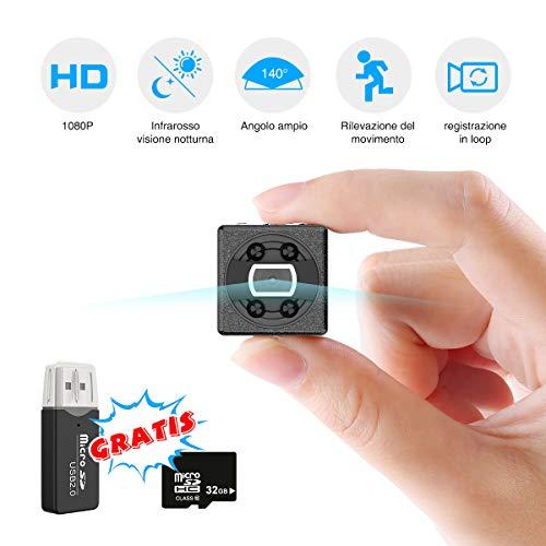 Mini Telecamera Spia Nascosta, FLYLINKTECH 1080P Microcamera Spy Motion Detection Videocamera Portatile per Video Sorveglianza con Scheda SD da 32GB