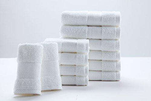 SUMC Handtuch Set mit 6 Handtüchern und 6 Waschlappen Baumwoll Handtücher von 12 Stück weiche Premium Bad Handtuch Qualität Super weich und stark saugfähigen Hotel Handtücher Familiengäste, Weiß -