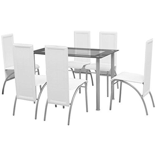 Festnight 7tlg. Set Essgruppe 1 Tisch + 6 Stühle Esszimmertisch Essstuhl Tischgruppe Stuhlset Weiß