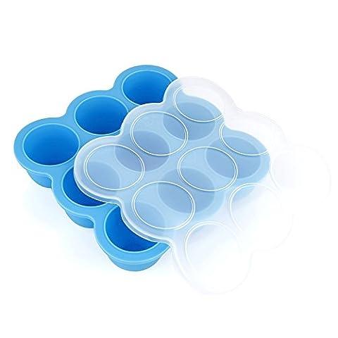 GVDV Récipient en Silicone 9 Portions Stockage pour Repas Bébé Moule de Glace Moule à Four, Bleu