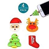 Newseego Câble pour iPhone Câble Protector Câble Saver Chargeur Chewers Cable Accessoire pour câble de Morsure d'animal Mignon Protège - Paquet de 4 (Père Noël, cerf, Arbre de Noël, Chaussette)