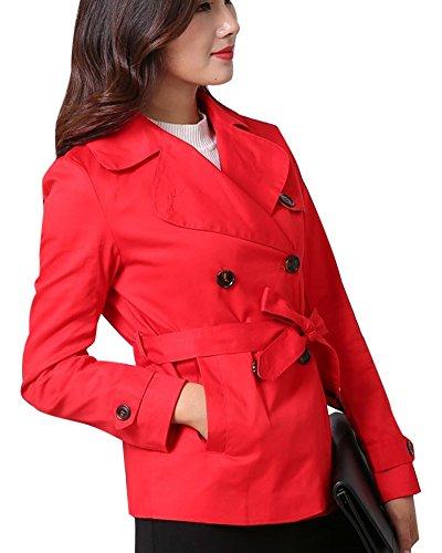 Donna Doppio Petto Risvolto Cappotto Trench Giacca Maniche Lunghe Jacket Con Cintura Rosso