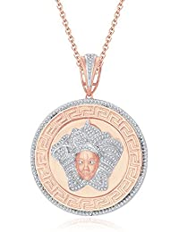 "Silvernshine 1.25 Ct Round Cut D/VVS1 Diamond Versa Pendant 18"" Chain In 14K Rose Gold Over"