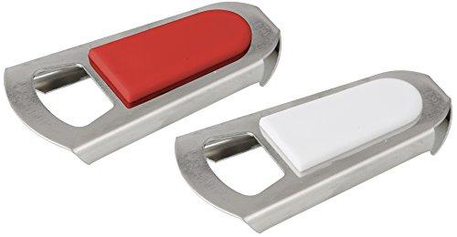 Fackelmann Kapselheber + Flaschenverschluss, Flaschenöffner und -verschluss (Farbe: Silber/Weiß, Silber/Rot - nicht frei wählbar), Menge: 1 Stück