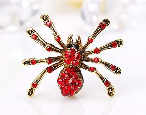 InSense Insect Bug Brooch Pretty Rhinestone Diamantes Personalized Spider Breastpin Alloy Crystal Decor Pin 3.3 * 2.4CM Diamantes (Red) (Bug Brooch)
