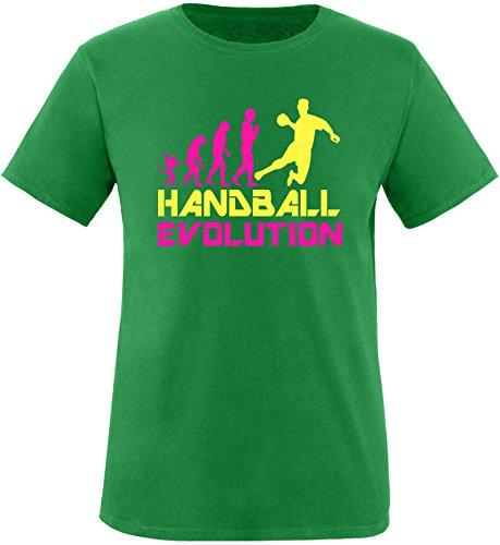 EZYshirt® Handball Evolution Herren Rundhals T-Shirt Grün/Pink/Gelb
