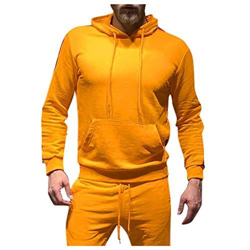 ODRD Herren Herbst Winter Langarm Patchwork Sweatshirt Kapuzenpullover Warm Kapuzen Hoodie Pullover Hooded Sweater Outwear Mit Tasche (Crew-angora-wolle-pullover)