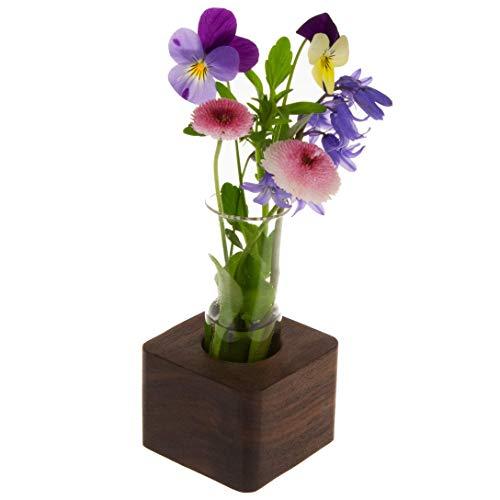 Blumenvase mit Reagenzglas aus Holz | Design Vase Glas Blume Blumen Ständer Massivholz | klein modern als Tischdeko Deko Dekoration Geschenk Gestell Natur Tischvase (Nussbaum - 6cm - 1er)
