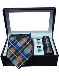 Riyasat - Check Design Multi Color Micro Fibre Men,s Tie, Cufflink and Pocket Square Gift Set .(S_ 115)