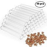 Faburo 40 Stück Reagenzgläser Hartplastik,Klar Plastik Reagenzgläser 75 x 12 mm,5 ml