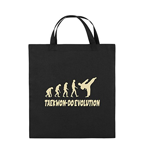 Comedy Bags - Taekwon-DO Evolution - Jutebeutel - Kurze Henkel - 38x42cm - Farbe: Schwarz/Beige