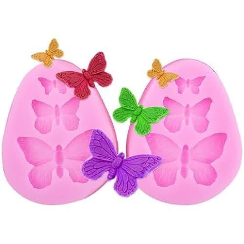 figuras kawaii porcelana fria 2x Encaje molde del silicona en forma pasta de azúcar herramienta Hornear adorna la flor rosa Mariposa