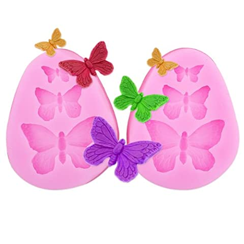 Moule Silicone Forme Dentelle X 2 Fondant Décoration Gâteau Outil Pâtisserie Papillon Rose Fleur