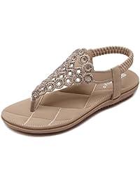 UH Damen Flache Sandalen Zehentrenner Glitzer Riemchen Sandaletten Flach Freizeit Schuhe
