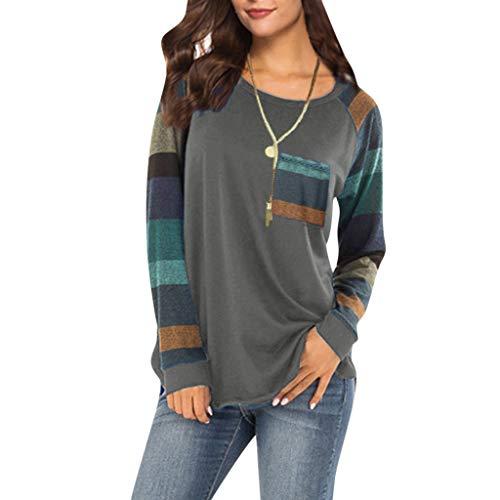 Dhyuen Damen Mode Tunika Tops Vintage Farbblock Gestreiften Langarm Rundhals Tasche Hemd Bluse Pullover -