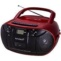 Sunstech CXUM52RD - Radio CD con Cassette (Am/FM, USB, SD, AUX-IN, 2.0 W RMS) Rojo