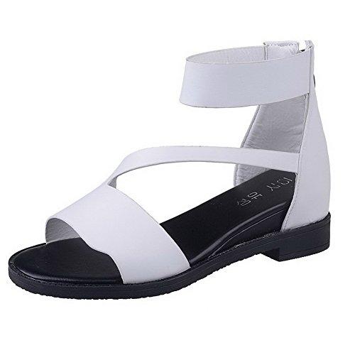 Weiß Sandalen Reißverschluss Aalardom Offener Damen Absatz Zehe Niedriger 3cm Rein 0q8pwO0