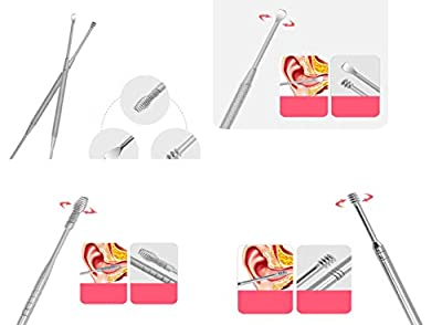 Ear Wax Remover, Ear Cleaner Ear Pick Earwax Removal with Storage Box Stainless Steel 7 Pieces for Ear Cleaning