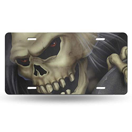 Halloween Skull Customized Aluminum Metal Tag Holder Waterproof 12 x 6 Inch Decoration ()