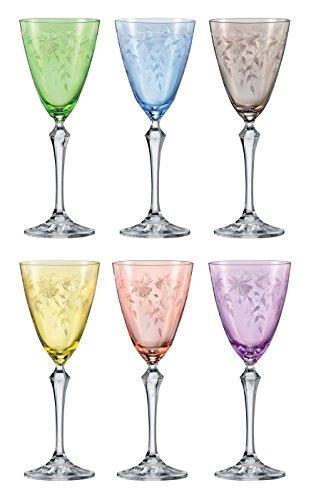 Bohemia Kristall Gläser - Floral - 6er Set - Original (Weinglas 6 x 250 ml)