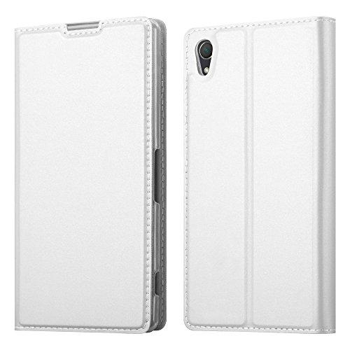 Cadorabo Hülle für Sony Xperia Z2 - Hülle in Silber – Handyhülle mit Standfunktion und Kartenfach im Metallic Look - Case Cover Schutzhülle Etui Tasche Book Klapp Style