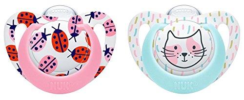 NUK 10177103 Genius Color Silikon-Schnuller, verbesserte kiefergerechte Form, noch zahnfreundlicher, 18-36 Monate, BPA frei, 2 Stück, Girl, rosa