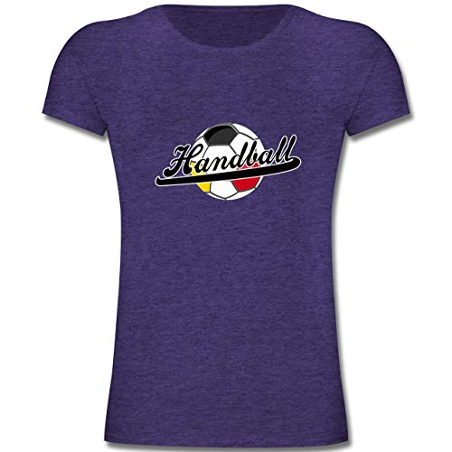 Handball WM 2019 Kinder - Handball Deutschland - 164 (14-15 Jahre) - Lila Meliert - F131K - Mädchen Kinder T-Shirt