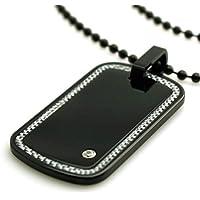 Collana con pendente Tioneer nero tungsteno in fibra di carbonio Border intarsio Dog Tag