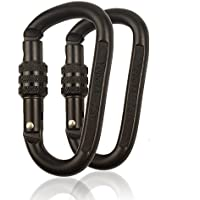 25KN Karabiner-Clip-Set (1/2er Pack) D-Ring mit Hochleistungs-Stahllegierung - Hängematten, Camping, Wandern, Reisen - Schwarzes
