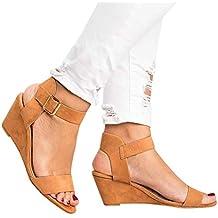 JiaMeng Moda cuñas sólidas tacón Hebilla Correa Romanos Zapatos Sandalias De Playa Sandalias Romanas Chanclas De