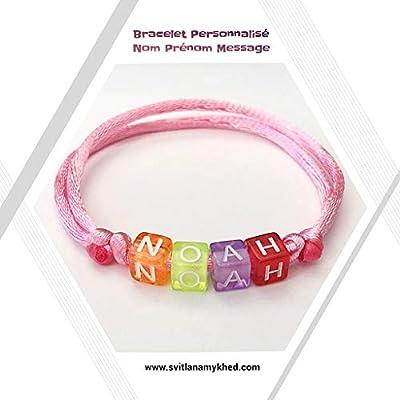 Bracelet personnalisable NOAH avec prénom, message, logo, surnom (réversible) pour homme, femme, enfant, bebe, nouveau-né. Création sur mesure!