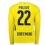 2017-18 Borussia Dortmund Long Sleeve Home Football Soccer T-Shirt Trikot (Christian Pulisic 22)