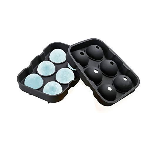 Aisence Eiswürfelbehälter Silikonkugel Whisky Ice Ball Maker mit Deckeln Eiswürfelformen für Cocktails und Bourbon - wiederverwendbar und BPA-frei (Black) (Ice Cream Maker Ball Frei)