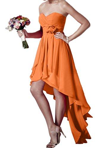 ivyd ressing robe HI-LO forme de cœur Fleurs Mousseline Party Prom robe Lave-vaisselle robe robe du soir Orange