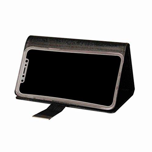 inShang Custodia per iPhone X 5.8 inch con il portafoglio 2 in 1 design, portafoglio staccabile, iPhoneX 5.8 inch case cover con funzione di supporto. black