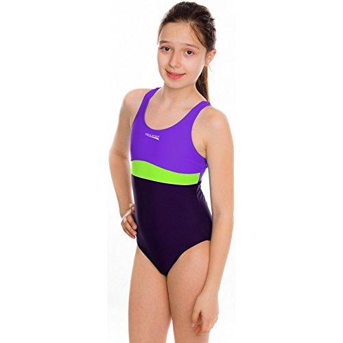 Aqua Speed - Mädchen Badeanzug / Schwimmanzug - PERFECT FIT Emily (Violett/Grün, 158)
