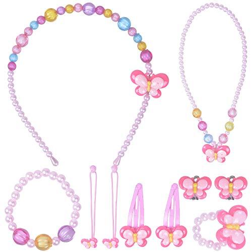 Larcenciel Kinder Schmuck kleine Mädchen Halskette Armband Ring Ohrring Set Bonbonfarben Halsketten Kinder spielen vorgeben dress up (Schmetterling)