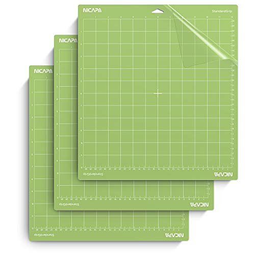 Nicapa Tapis de découpe pour Cricut Explore One/Air/Air 2/Maker [Standardgrip, 30,5 x 30,5 cm, Lot...