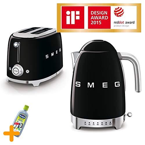 Smeg Frühstückset Premium 50\'s Retro Style, Wasserkocher 1,7 Liter 2400 Watt + 2 Scheiben Toaster mit extra breite Toastschlitze 36 mm, Hochwertiges Edelstahl Gehäuse, Drucktasten beleuchtet, schwarz