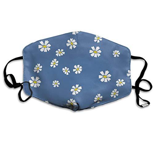 Miedhki Dust Mask- Stylish Retro Daisy Simple Blue Florals Print Reusable Face Mask Flu Mask for Men Women -