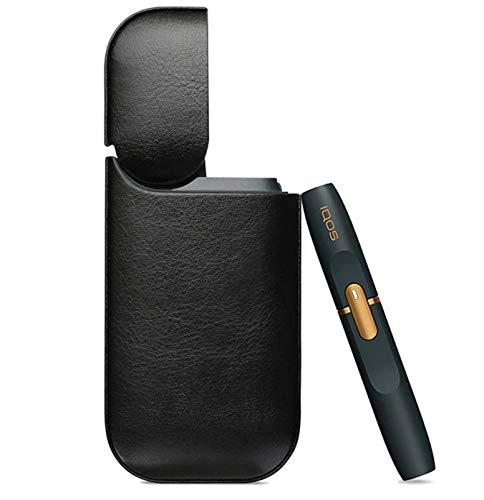 iqos Hülle Leder PU e-sigaretta Handy Elektronische Kratzfest Schutzhülle Abdeckung Cover für iqos mit Ladekabel (Schwarz)