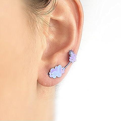 Cloud earrings, miniature stud earrings, cloud ear climber