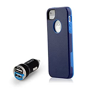 iPhone SE iPhone 5S Case, Drop Protection, Soft, Ultra Slim, Flexible, Premium Protective iPhone Cover w/ Free 2Amp Dual USB Rapid Car Charger (Freestyle Blue/Royal Blue)
