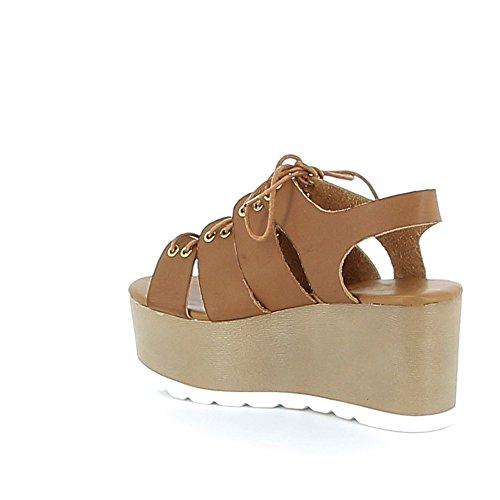 Sandale à plateau avec laçage Camel