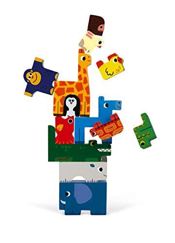 JANOD Jeu d'équilibre et Puzzle Animaux (Bois), J07091, Multicolore