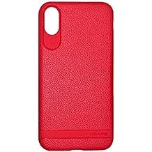 """Custodia iPhone X Usams PU Pelle Back Case Bordo Protezione Proteggi Series di Lusso Cover Ultra Sottile Anti Graffi Morbido Stile Elegante Cover per iPhone X 5.8"""" Rosso"""